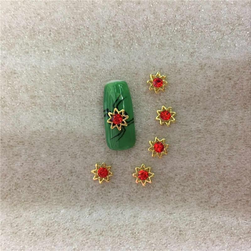 10 pièces/sac Clou Alliage Bijoux Golde Rouge Diamant Arc Bijou Strass Art GlitterAcessorios 3D Nail Art Décoration Jois Outils NO 40
