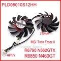 Envío libre 2 unids/lote PLD08010S12HH 12 V 0.35A 75mm para MSI R6790 570GTX R6850 N460GTX tarjeta gráfica ventilador de refrigeración