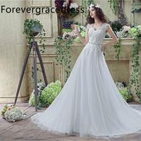 Forevergracedress Cheap High Quality A Line Wedding Dress V Neck Sleeveless Crystals Lace Long Bridal Gown