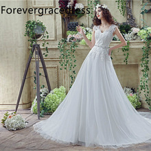 Forevergracedress Cheap High Quality A Line Wedding Dress V Neck Sleeveless Crystals Lace Long Bridal Gown Plus Size Custom Made