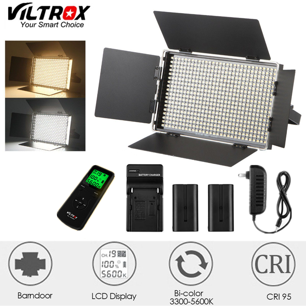 Viltrox VL-40T LED Macro Photography Video Interview 3300-5600K Photo Lamp + DC adapter Charger and Battery for Canon Nikon Sony