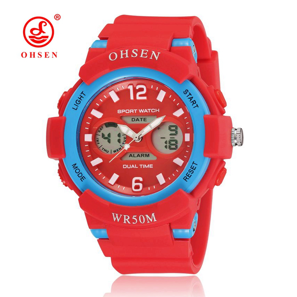 Top Sale OHSEN Fashion Quartz Digital Watch Woman Female Ladies Wristwatches Red Rubber Band Alarm Day