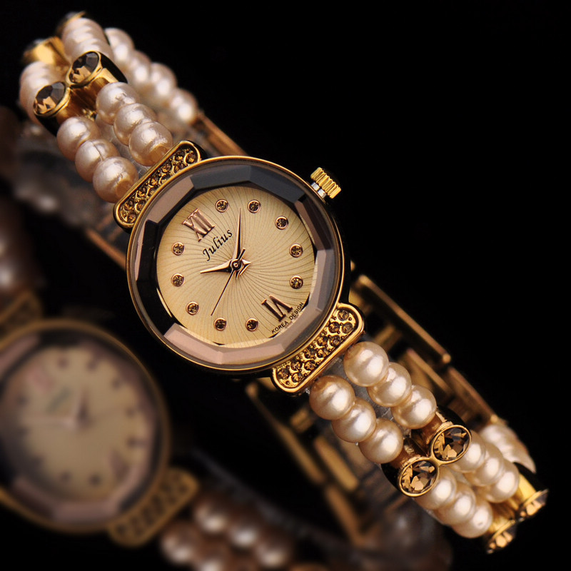 Small Julius Lady Women's Watch Japan Quartz Hours Fashion Clock Bracelet Simulated Pearl Elastic Rope Rhinestone Girl Gift Box|box box|box gift box|box girl - title=