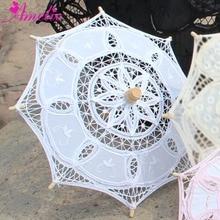 Хлопковый зонтик ручной работы, радиус 19 см, разные цвета, свадебный подарок, декоративный кружевной зонтик для девочки, детский зонтик от солнца, 1 шт