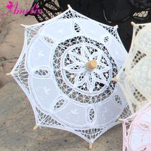 Handmade Cotton Canopy Radius 19cm Assorted color Wedding Party Gift Table Decorative Lace Parasol Girl's Kids Sun Umbrella 1pc(China)