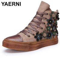 YAERNI 2018 Autumn and Winter New Genuine Leather High Skateboard Shoes Women Boots Retro Flat Casual Ankle Boots E380
