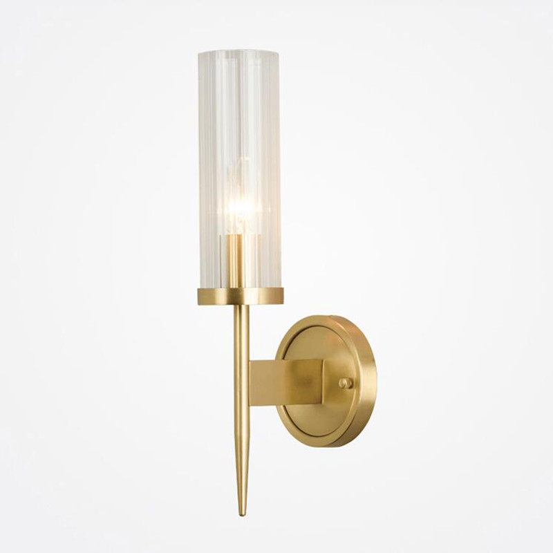 American Simple Designer Glass Copper Wall Lamp Modern Villa Engineering Model Houses Living Room LED Wall Light Free Shipping ...