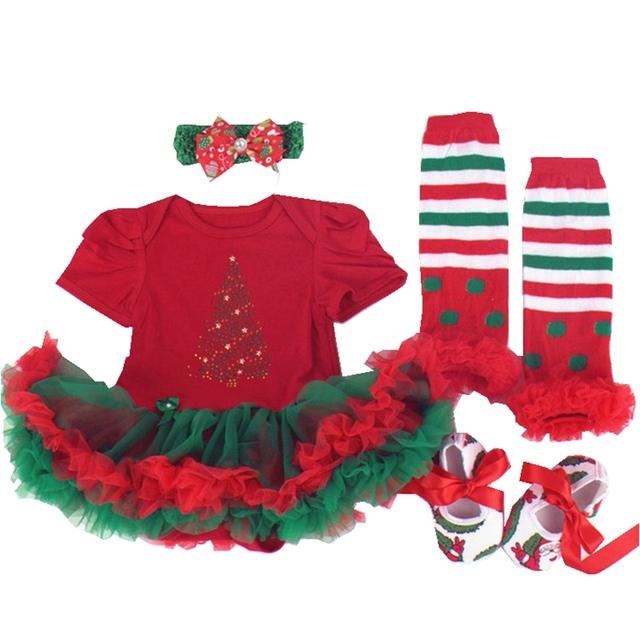 Manga curta Vestidos De Natal Tutu Romper Polainas Sapatos Recém-nascidos Headband 4 PCS Do Bebê Da Menina Roupas das Crianças Conjunto de Roupas