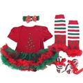 Recién Nacido de Manga corta Vestidos de Navidad Tutu Romper Calentadores Zapatos Venda 4 UNIDS Ropa Del Bebé ropa Para Niños Set