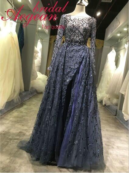 Hq049 New Fashion Heavy Beaded Long Sleeve Gown Women Dress Evening