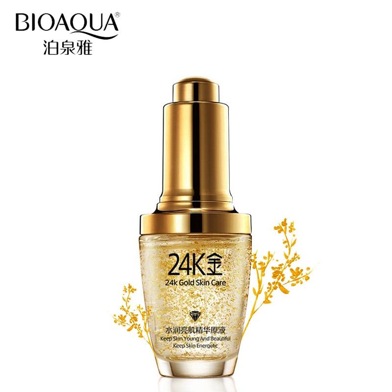 BIOAQUA מותג טיפוח העור 24K זהב מהות נגד קמטים פנים אנטי אייג 'ינג קולגן הלבנת לחות נוזל חומצה היאלורונית