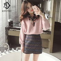 2018 Autumn New Arrival Women's Fashion Sets Hot Sweet Bow Ribbons O Neck Knitting Sweater And Sexy Geometric Skirt S88110Y