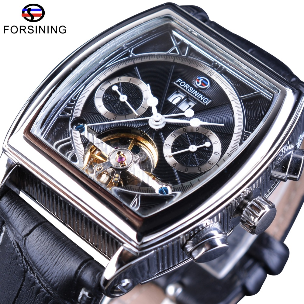 Forsining Multifunction Retro Series Rectangle Dial Genuine Belt Tourbillion Design Men Automatic Watches Top Brand Luxury ClockForsining Multifunction Retro Series Rectangle Dial Genuine Belt Tourbillion Design Men Automatic Watches Top Brand Luxury Clock