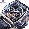 Forsining Multifunktions Retro Serie Rechteck Zifferblatt Echte Gürtel Tourbillion Design Männer Automatische Uhren Top-marke Luxus Uhr