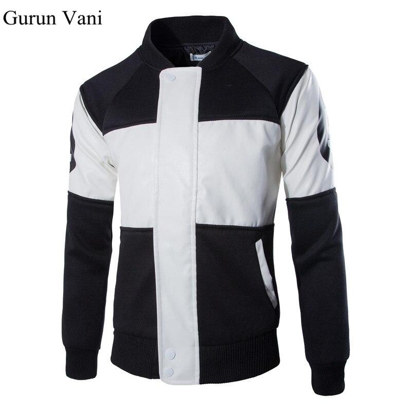 New Fashion Autumn Winter Mens Leather Jacket Patchwork Motorcycle Jacket Men Digital Pattern Coats Leather Jackets Men Clothing