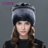 FUR 2016 Women Rex Rabbit Fur Hat Real Fur Winter Hats Beanies Cap Hand Sewing Skullies