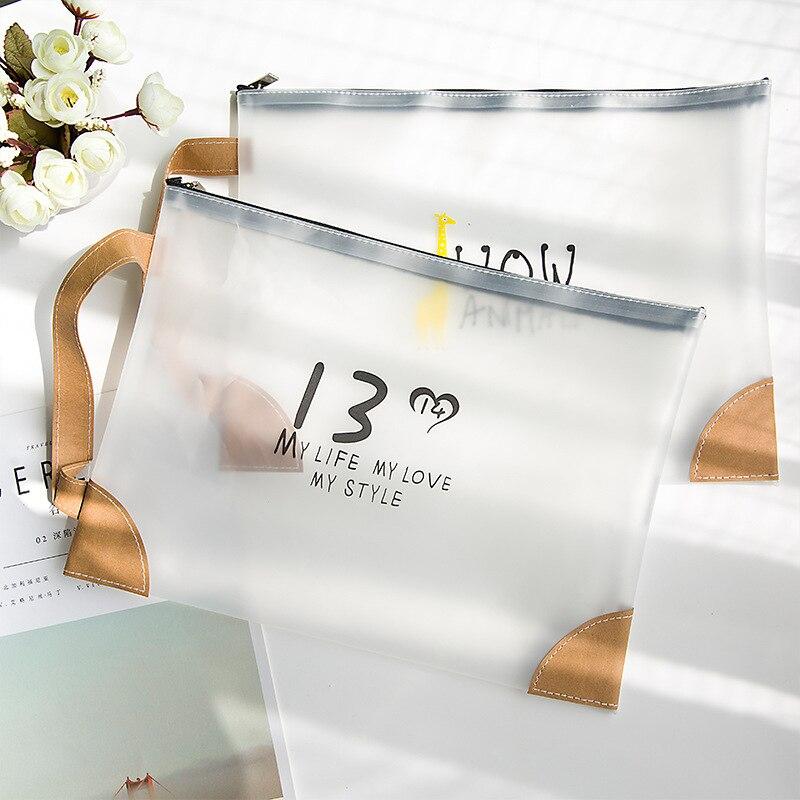 Kawaii Flamingos A4 Document Bag Large Capacity PVC Transparent File Holer Portable Storage Bag Office School Supply