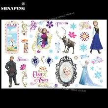 SHNAPIGN Ice Princess Child Temporary Tattoo Body Art Flash Tattoo Stickers 17x10cm Waterproof Henna Styling Wall Sticker