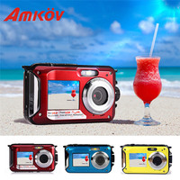 AMKOV W599 24 MP Professional Camera Front & Rear Dual screen HD Camera 2.7inch Digital Cameras Waterproof Compact Camera 3color