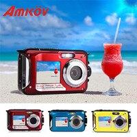 AMKOV W599 24 MP Professional Camera Front Rear Dual Screen HD Camera 2 7inch Digital Cameras