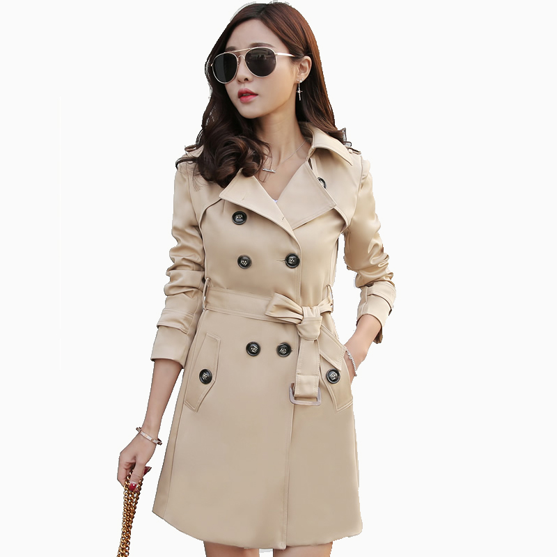 LYFZOUS Spring Autumn Classic Trench Coat For Women Fashion Slim long Double Breasted Coat Ladies Casual Mujer Casaco with belt