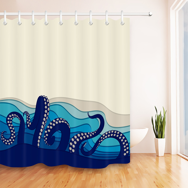 LB 72Blue Octopus Tentacles Shower Curtains Bathroom Curtain Underwater Waterproof Polyester Fabric For Artistic Bathtub Decor