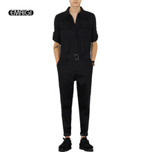 Male Long Sleeve Jumpsuit Spring Autumn New Men Jumpsuit A Piece Pants Overalls Tooling Casual Fashion Trousers Q251