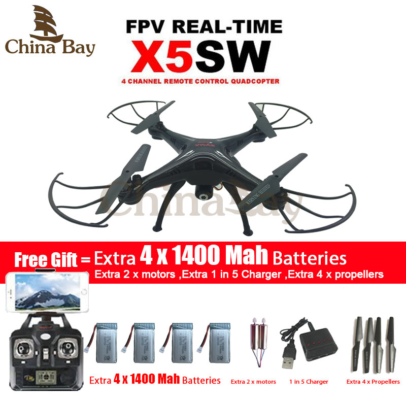 SYMA X5SW/X5SW-1 WIFI Drone Quadcopter With FPV Camera Headless 6-Axis Real Time Video RC Helicopter Quad copter With 5 Battery free shipping mjx x300c 4ch 6 axis quadcoptepr fpv real time video drone headless 2x battery