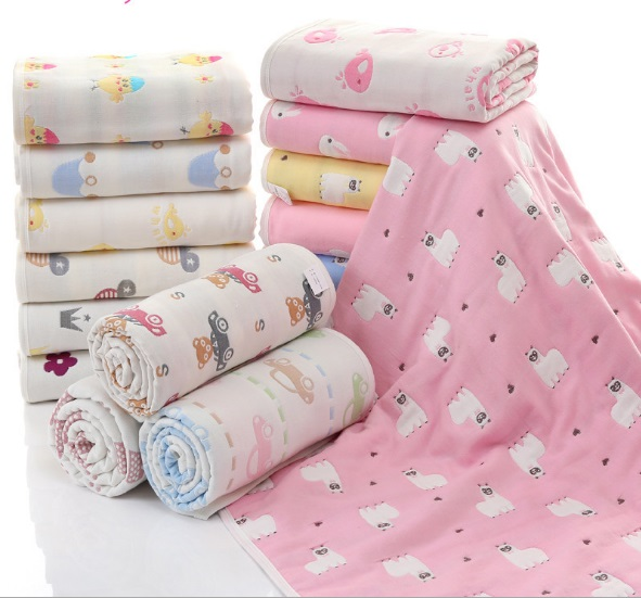 100 Cotton Baby Blankets Cute Print Muslin 6 Layers Bedding Infant Newborn Swaddle Bath Towel Stroller Baby Receiving Bedsheet in Blanket Swaddling from Mother Kids