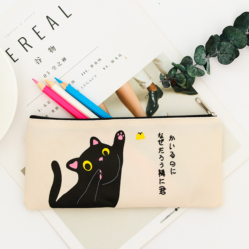 Zipper Canvas Cute Cat Lion Pencil Case School Supplies Stationery Estuches Student BTS Pencil Bag Box Gift Kawaii