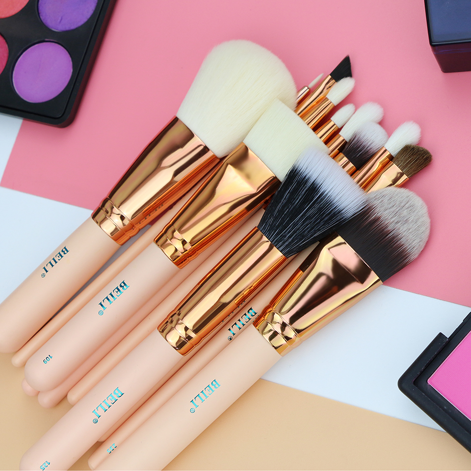 BEILI Rose golden 12pcs Essential Travel kit Pink Foundation Powder Contour Eye shadow Makeup Brushes set High quality