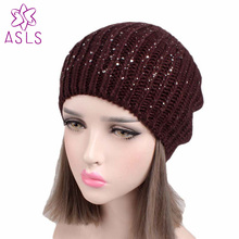 08291faf64f 2017 New Fashion BlingBling hot fix rhinestone slouchy caps Loose Baggy hat  Winter Beanie Knit Skull
