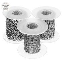 10 yardas/rollo de 1mm 1,5mm 2mm 2,5mm 3mm ancho, de cadenas de acero inoxidable rodio cadena para collares pulseras joyas DIY