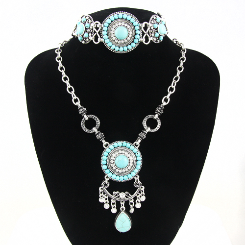 New Bohemian Turquoise Jewelry Sets for Women Rhinestone Silver Chain Necklace Charm Beads font b Bracelets