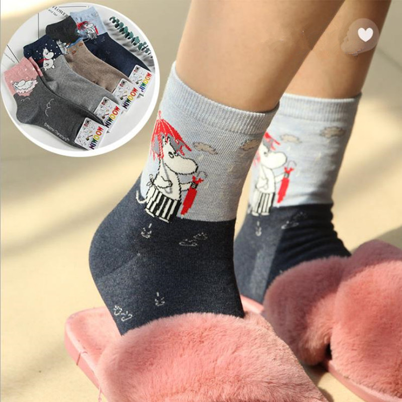 Moomin Valley Cartoon Cute Cosplay   Socks   Fashion Harajuku Funny   socks   Cortas De Mujer Spring Summer Pink Short Cut   Socks