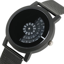 Half Turntable Circle Men Casual Watches Trendy Minimalist Creative Quartz Wristwatch Mesh band Women Analog Modern Clock 2017