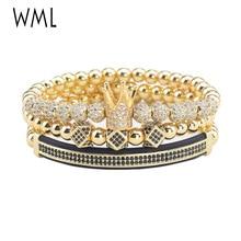 3pcs/Set Luxury Crown mens Bracelets set CZ Ball crown Charm copper beads Braided men bracelets & bangles for accessories