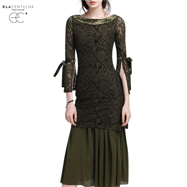 37ef902e6ae55 ElaCentelha Women's Sets 2017 Fashion Ladies Hollow Out Lace Pullover  Shirts Tops + Women Solid Color Pleated Maxi Skirts -in Women's Sets from  ...