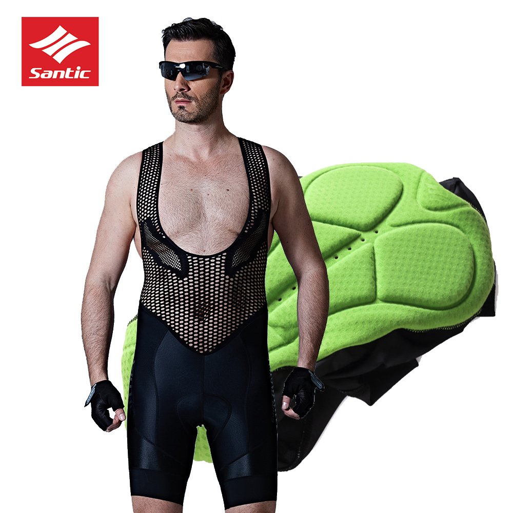 SANTIC Bib Shorts Men Cycling Bicycle Road Bibs Shorts Bike Downhill Bib Shorts Mens Cycling MTB Sport Mesh 4D Padded Base Layer