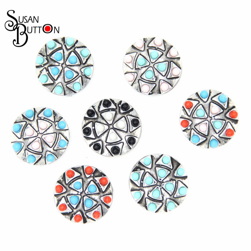 12pcs 7colors Resin Snap Button Charm 18mm alloy trigon carve Snap Button Interchangeable Susan Button Jewerly SB766
