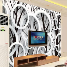 Branch silhouette 3D ring fashion background wall professional making mural wallpaper custom poster photo