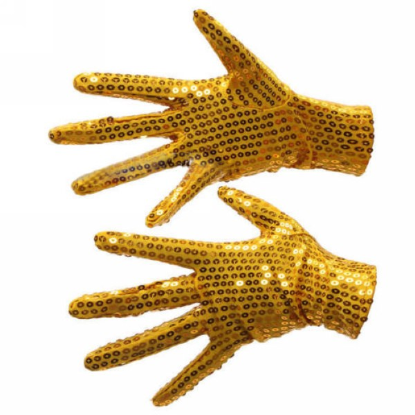 1Pair Michael Jackson Billie Jean Glod Color Sequin Glove For Party Dance Performance Props