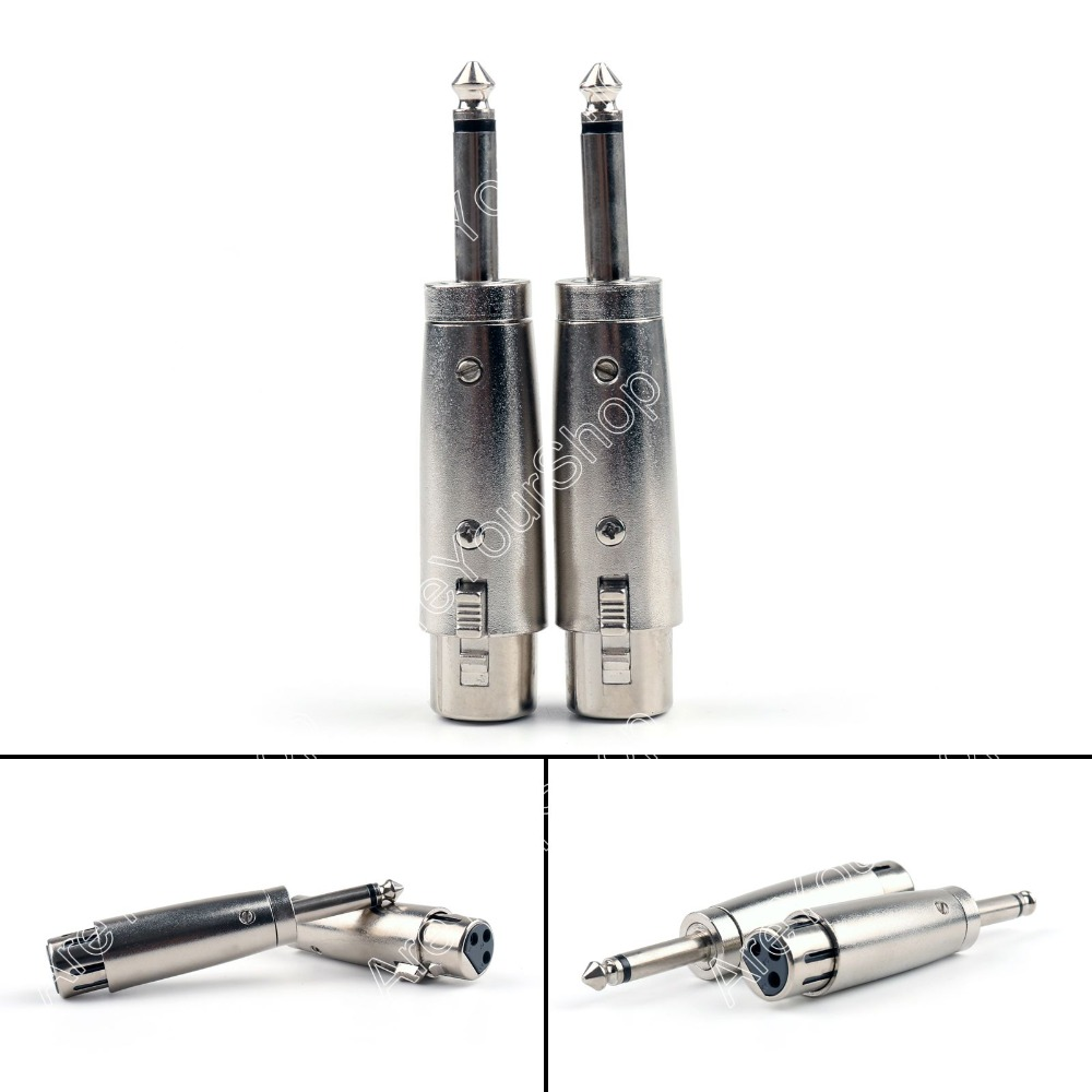 Areyourshop Sale 12 Pcs XLR 3 Pin Female To 1/4 Inch Male Mono Plug For Audio Adapter Microphone m areyourshop sale 10 pcs nickel plated 4pin female adapter 4pin xlr male plug audio microphone connector