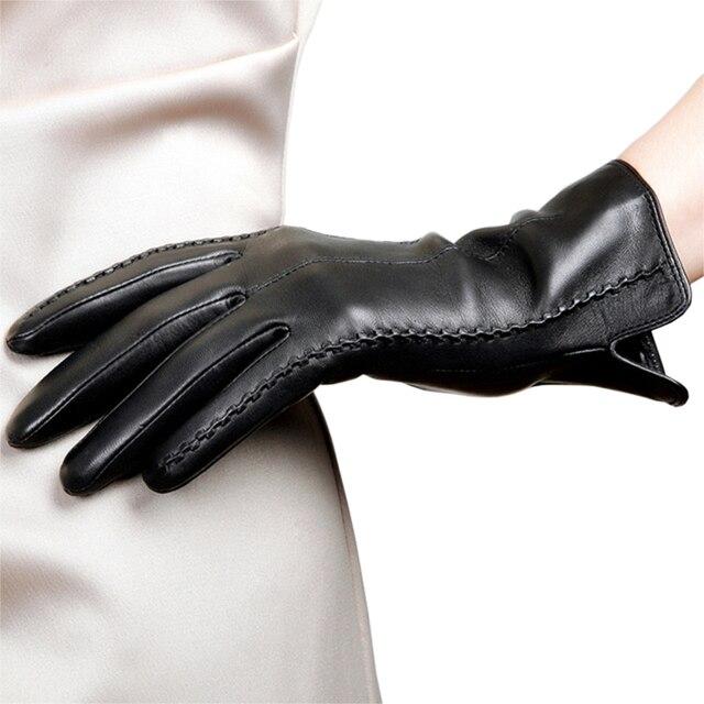 Hot Sale Genuine Leather Women Gloves Female Autumn Winter Thicken Thermal Velvet Fashion Trend Sheepskin Gloves L085NC-1 1