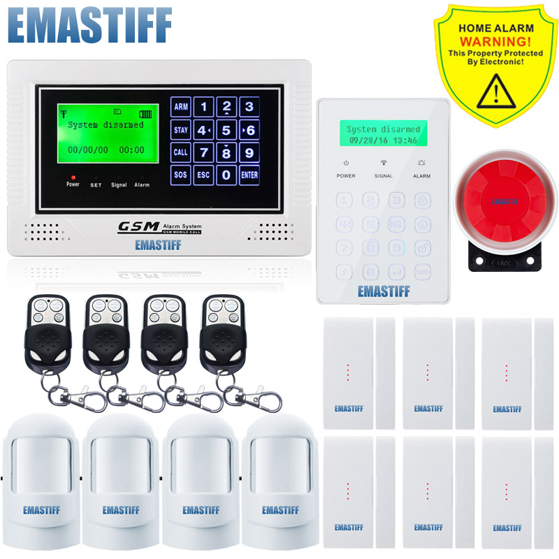 Wireless Touch Password Keypad arm/disarm/SOS Gsm SMS SIM card Alarm System menu display for Home Security Android App Control wireless remote control arm disarm detector for fuers touch keypad panel gsm pstn home security burglar voice alarm system