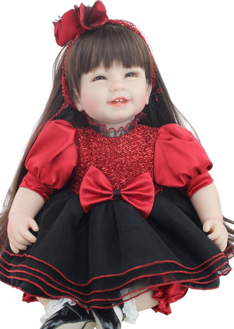 55 cm princess silicone boneca reborn baby doll toys for children 22 inch cloth body baby  dolls brinquedo toys for girls