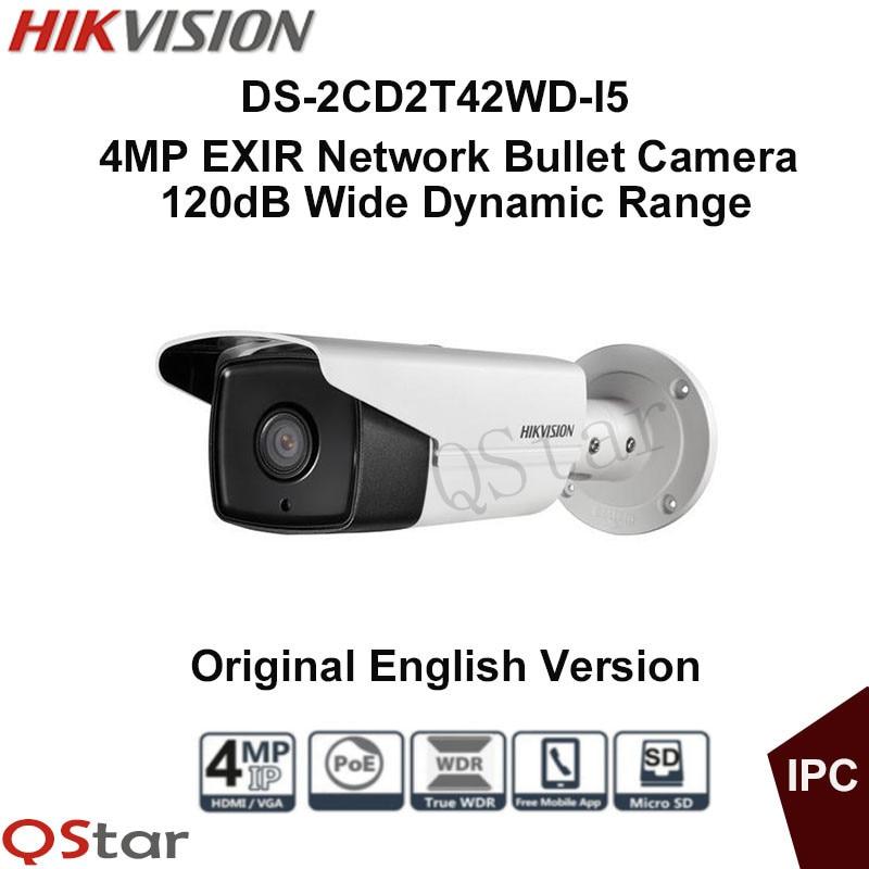 Hikvision Original English outdoor ip camera DS-2CD2T42WD-I5 4MP EXIR IR Bullet IP Camera 1080P ONVIF POE WDR CCTV Camera IP67 free shipping hikvision ds 2cd2t42wd i3 english version 4mp exir network bullet ip security camera poe 120db wdr 30m ir h 264