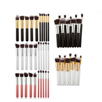 10 Pcs Silver Golden Makeup Brush Set Cosmetics Foundation Blending Blush Makeup Tool Powder Eyeshadow Cosmetic