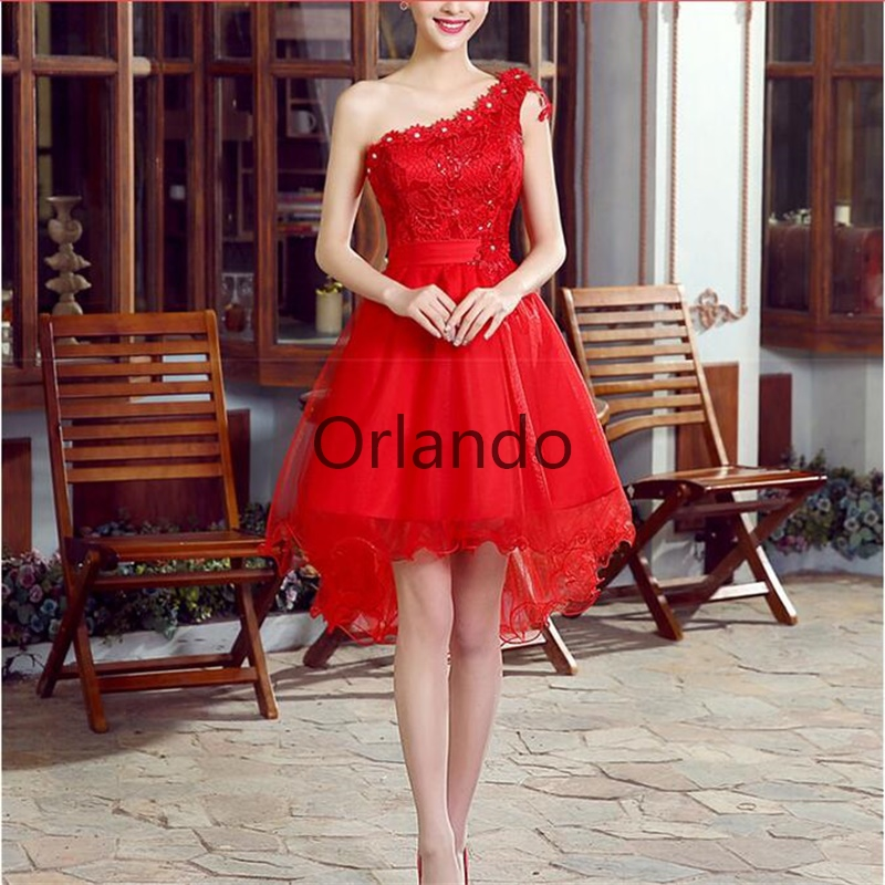 New Arrival Short Evening Dresses Red Special Occasion Dress Bride Gown One Shoulder Princess Ball Prom Party Formal Dress
