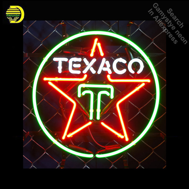 Neon signs for Texaco oil Gasline Neon Light Sign Real Glass Tube Handcrafted Restaurant Hotel Display lamp personalized neon